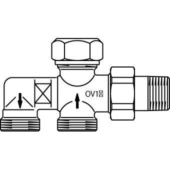 Oventrop Uno Onderblok 1 Pijps 1182051