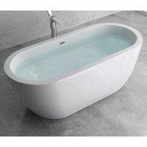 Design acryl vrijstaand bad glans wit afm. 1800x790x625mm (lxbxh) compleet geleverd met stelpoten en inclusief geïntegreerde overloop en klik klak badafvoer chroom - 110FB5011