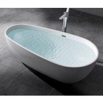 Design acryl vrijstaand bad glans wit afm. 1670x850x555mm (lxbxh) compleet geleverd met stelpoten en inclusief geïntegreerde overloop en klik klak badafvoer chroom - 110FB5061