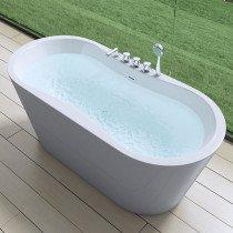 Design acryl vrijstaand bad glans wit afm. 1705x750x670mm (lxbxh) compleet geleverd met kranen, stelpoten, geïntegreerde overloop en klik klak badafvoer chroom - 110FB6021