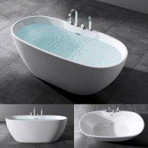 Design acryl vrijstaand bad glans wit afm. 1700x798x700mm (lxbxh) compleet geleverd met stelpoten en inclusief geïntegreerde overloop en klik klak badafvoer chroom - 110FB6051