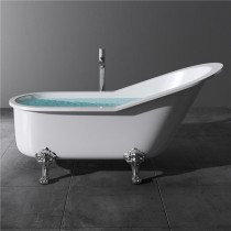 Design acryl vrijstaand bad glans wit afm. 1780x770x850mm (lxbxh) compleet geleverd met stelpoten en inclusief geïntegreerde overloop en klik klak badafvoer chroom - 110FB7011
