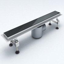 Design douchegoot RVS met zwart glazen rooster afm. 800x70mm (lxd) hoogte (85-125)mm - 110QSG1009R1