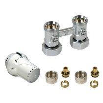 Design ventielradiatorset recht M30x3/4 bi wit inclusief koppelingen - 1044495