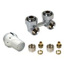 Design ventielradiatorset haaks M30x3/4 bi wit inclusief koppelingen - 1044496