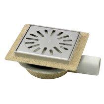 Aquaberg ABS vloerput-opzetstuk bezand m. 20mm flens m. RVS sierrand m. zijuitl. rond 50mm - 4016146FRA