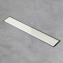 Easy Drain AquaJewels Linea glas glans 30cm wit M1 m. zijuitloop 50mm m. waterslot 50mm - AJL-30-M1-50-GW