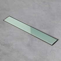 Easy Drain AquaJewels Linea glas glans 30cm groen M1 m. zijuitloop 50mm m. waterslot 50mm - AJL-30-M1-50-GG