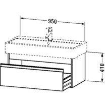 Duravit Ketho wastafelonderbouw m. 1 lade 95x44x41cm matwit v. Vero 045410 (ongeslepen) - KT668801818