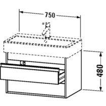 Duravit Ketho wastafelonderbouw m. 2 laden 75x44x41cm grafiet v. Vero 045480 (ongeslepen) - KT663704949