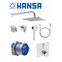 Hansa Hansabluebox showerset: inbouwkraan thermostatisch met afbouwdeel vierkant plus hoofddouche vierkant chroom - 89950000
