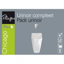 Plieger Chicago urinoir pack met deksel, spoelmechanismeenbedieningspaneel matchroom wit - 4970168