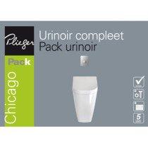 Plieger Chicago urinoir pack met deksel, spoelmechanismeenbedieningspaneel matchroom wit - 4970168