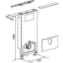 Burda Santro WC-element wand met Geberit inbouwreservoir UP320 zelfdragend H108cm breedte 52.5cm - 611113