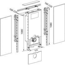 Burda Santro WC-element E met Geberit inbouwreservoir UP320 zelfdragend H82.5/108cm max breedte 125cm - 611250