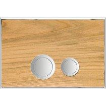 Rezi Design bedieningsplaat hout DF m. 2 ongelijke druktoetsen in verchroomd messing kersen/chroom - BB3651D2HK