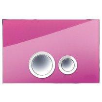 Rezi Design bedieningsplaat glas DF m. 2 ongelijke druktoetsen in verchroomd kunststof fuchsia-roze/chroom - BB3651D1RF