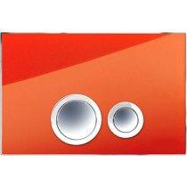 Rezi Design bedieningsplaat glas DF m. 2 ongelijke druktoetsen in verchroomd messing tomaat-rood/chroom - BB3651D2RT