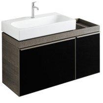 Keramag Citterio wastafelonderbouwkast m. 2 laden 133.4x55.4x50.4cm grijs/zwart - 835436000
