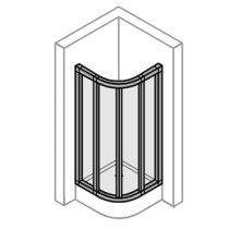 Huppe Alpha douchecabine kwartrond m. zwaaideuren 80x190cm wit/helder - AL4500055321