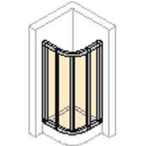 Huppe Alpha douchecabine kwartrond m. schuifdeuren 90x190cm zilvermat/helder radius 50cm - AL3100087321