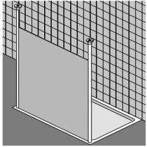 Kermi Walk-In Free douchewand vrijstaand m. 2 plafondsteunen - XXWSF098201AK