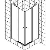 Kermi Ibiza-2000 pendeldeur m. vast segment voor hoekinstap 90x185cm wit/helder rechts m. KermiClean (antikalk) - I2EOR090182PK