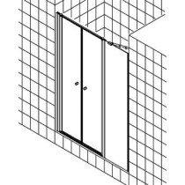 Kermi Ibiza-2000 pendeldeur m. vast segment z. profiel matzilver/helder rechts m. KermiClean (antikalk) - I2POR120181PK