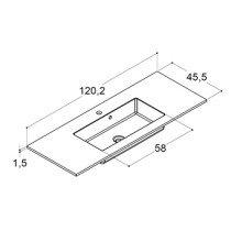 Dansani Minore wastafelblad solid surface met enkele wastafel 120.2x45.5cm mat wit - 337112003