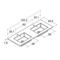 Dansani Minore wastafelblad solid surface met dubbele wastafel 120.2x45.5cm mat wit - 337112203