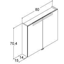 Dansani Mido spiegelkast m. 2 deuren m. geintegreerde verlichting 80x70.4x15cm havanna - SP1685E