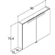 Dansani Mido spiegelkast m. 2 deuren m. geintegreerde verlichting 90x70.4x15cm havanna - SP1695E
