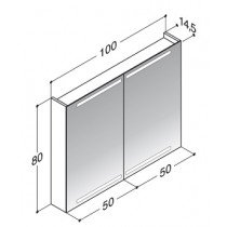 Dansani Zaro spiegelkast m. geintegreerde boven- en onderverlichting 100x80x14.5cm zwart - SP1814E