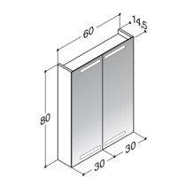 Dansani Zaro spiegelkast m. geintegreerde boven- en onderverlichting 60x80x14.5cm zwart - SP1864E