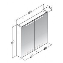 Dansani Zaro spiegelkast m. geintegreerde boven- en onderverlichting 80x80x14.5cm zwart - SP1884E