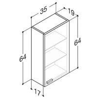 Dansani Luna bovenkast -64cm- m. 1 deur 35x64x19cm eiken - N150661