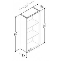 Dansani Luna bovenkast -80cm- m. 1 deur 35x80x19cm glanswit - N90349