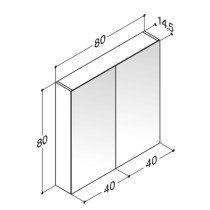 Dansani Luna spiegelkast z. verlichting m. 2 deuren 80x80x14.5cm - SP3089E
