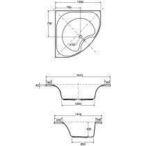 Hoesch HappyD kunststof bad acryl wand m. paneel-plint-onderstel m. paneel m. plint m. onderstel - 6181010