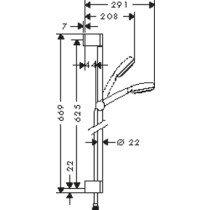 Hansgrohe Crometta 100 glijstangset m. Crometta 100 1jet handdouche - 26652400