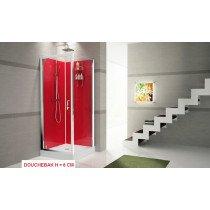 Novellini Verdi GF90 douchecabine vierkant - 90 x 90 x 206 cm - inclusief glazen achterwanden rood en douchebakhoogte 8cm - VERGF99T-1KR