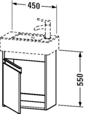 Duravit Ketho wastafelonderbouw m. 1 deur 45x22.5x55cm basalt v. Vero 070350 (ongeslepen) - KT6629L4343