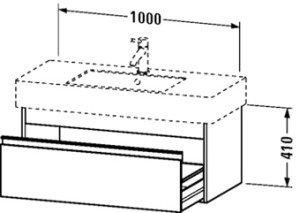 Duravit Ketho wastafelonderbouw m. 1 lade 100x45.5x41cm basalt v. Vero 032910 (ongeslepen) - KT669104343