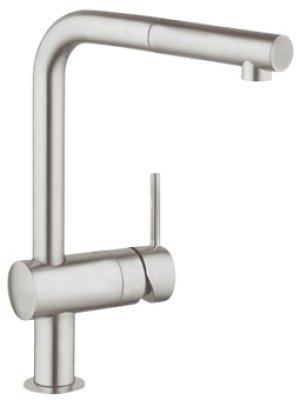 Grohe Minta 1-gats keukenkraan m. draaibare L-uitloop m. uittrekbare perlator steel - 32168DC0