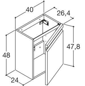 Dansani Zaro wastafelonderbouwkast m. 1 deur grijs - K70142