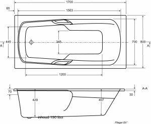 Plieger Spring kunststof bad acryl rechthoekig 180x80cm - 943223