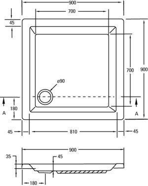 Plieger Kwadrant kunststof douchebak acryl vierkant - 941188